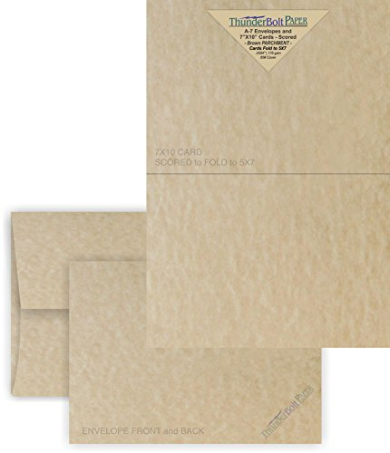 5X7 Folded Size with A-7 Envelopes - Brown Parchment - 50 Sets (10X7 Cards Scored to Fold in Half) Matching Pack - Invitations, Greeting, Thank You, Notes, Holidays, Weddings, Birthdays, Announcements from ThunderBolt Paper