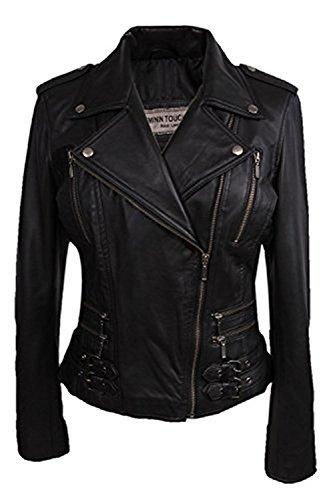 Brandslock Womens Real Leather Biker Jacket Black Fitted Bikers Style Vintage Rock (M, Black)