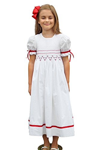 Little Girls Smocked Dress White Red Holiday Christmas Dress size 4 Strasburg Children by Strasburg Children