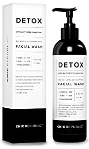 All Natural Activated Charcoal Facial Cleanser - Organic Daily Acne Skincare Face Exfoliating for Smooth Skin, Pore Minimizing, Best Anti Aging Skin Rejuvenation with Aloe Vera Gel, Coconut Oil by Chic Republic