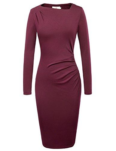 Womens Classic Asymmetric Slim Fit Bodycon Midi Dress Size L Wine Red