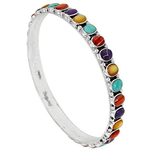 ng Silver Bangle Bracelet Genuine Turquoise & Gemstones (Multi) ()