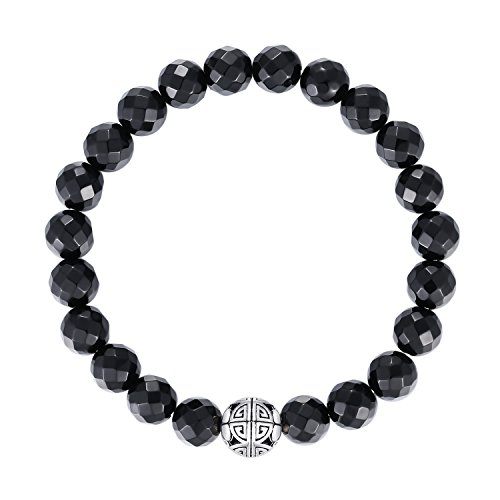 Natural 8mm Gorgeous Men Women Semi-Precious Gemstones Healing Crystal Stretch Beaded Bracelet Unisex Bangle with 925 Sterling Silver Double Happiness Pendant (Black Onyx)