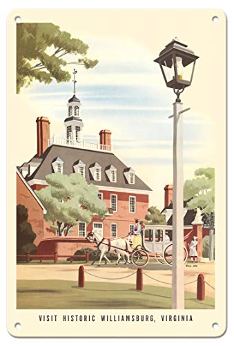 Pacifica Island Art 8in x 12in Vintage Tin Sign - Williamsburg, Virginia - Governor's Palace - Chesapeake & Ohio Railways by Bern Hill ()
