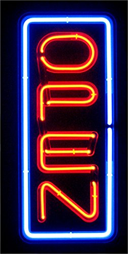 VERTICAL REAL GLASS BRIGHT NEON OPEN SIGN / LIGHT - NOT LED OPEN SIGNS - VIVID BRIGHT COLOR BIG FOR SHOP STORE BAR CAFE RESTAURANT BEER SALON BUSINESS