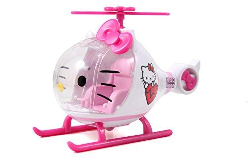 412vvX8TJbL Helicóptero de juguete de Hello Kitty diseñado en colores brillantes rosa y blanco, recomendado para niños a partir de 3 años Equipado con una cabina de cristal cuyo parabrisas puede abrirse muy fácilmente; una pequeña figura de Hello Kitty toma su lugar en la palanca de conducción y tiene todo bajo control La camilla se puede sujetar a la parte inferior del helicóptero para poder despegar sin problemas