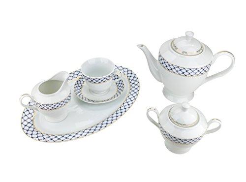 (Majestic Porcelain 49-Piece Dinner Set, Gold-Plated Blue Cobalt Net Place Setting, White Porcelain Dinnerware Set, Service for 8)