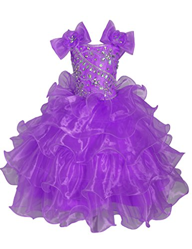 GreenBloom Little Girls Bowknot Crystals Pageant Dresses Ball Gowns Purple 8