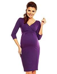 Zeta Ville - Women's Maternity Wrap V-neckline Empire Seam Pleated Dress - 001c (Purple, 6)