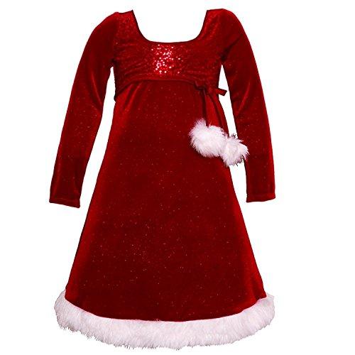 Bonnie Jean Girls' Big Santa Dresses, pom, -