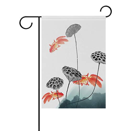 Chic Houses Cute Goldfish Lotus Root Chinese Style Ink Painting Outdoor Garden Flags Animal Creative Design Vertical Double Sided Home Decorative House Yard Sign 28 x 40 Inch 2030974