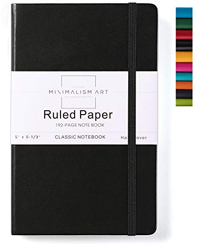 Minimalism Art, Classic Notebook Journal, A5 Size 5 X 8.3 inches, Black, Ruled Lined Page, 192 Pages, Hard Cover, Fine PU Leather, Inner Pocket, Quality Paper-100gsm, Designed in San Francisco