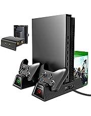 Suporte de resfriamento vertical TwiHill compatível com Xbox ONE X / Xbox ONE S / Xbox ONE normal, ventilador de resfriamento com 2PACK baterias de 600mAh, armazenamento de jogos, estação dock de carregamento de controlador duplo (Preto)