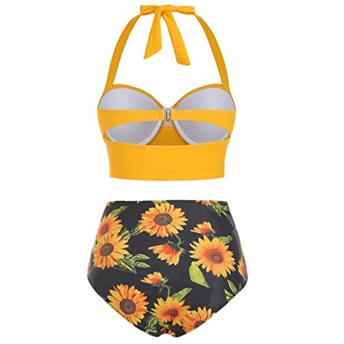 (QueenMM Fashion 2019 High Waisted Bikini Set, Women's Vintage Two Piece Swimsuits Retro Bathing Suits with Underwired Top Yellow)