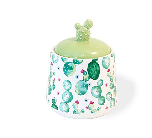 (My Little Cactus Southwest Green 6 x 5 Porcelain Ceramic Organization Jar)