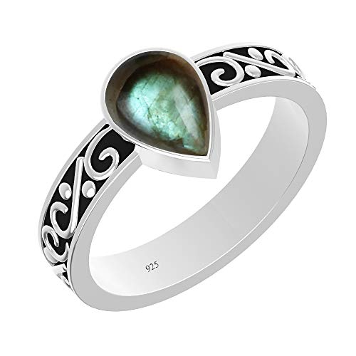 (925 Sterling Silver Solitaire Ring with Natural Labradorite for Women Fashion (Size 6))
