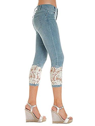 Mode Pantalon Femme Sexy tendue Slim Jeans Fangcheng Dentelle t Clair Bleu Skinny 80UqSx