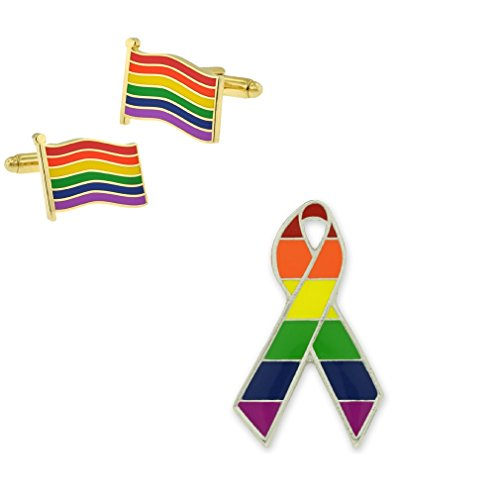 PinMart Gay Pride Rainbow Ribbon Lapel Pin & Flag LGBT Cufflink 2 Piece Bundle