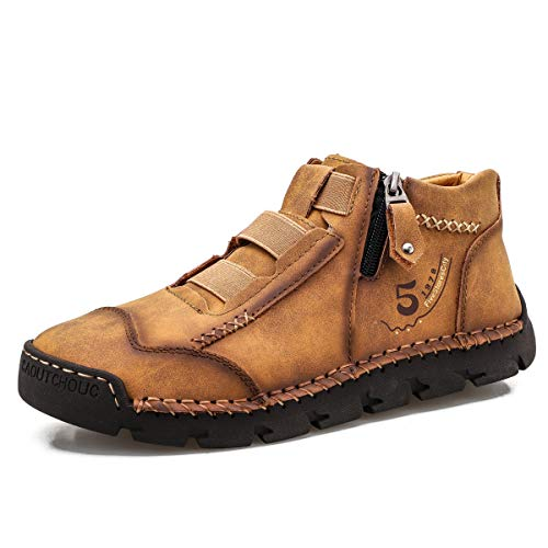 FiveStoresCity Mens All-Season Leather Loafers Chukka Boots Hand-Stitching Shoes for Dress Walking Driving