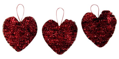 Red 3D Heart Tinsel Hanging Ornament Party Decoration, 5 Inch, Set of 3