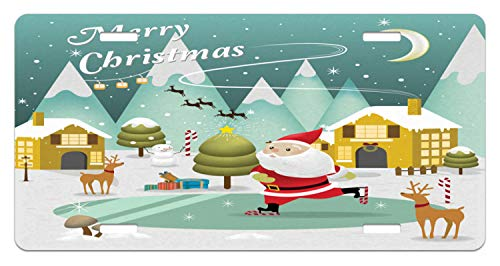 Lunarable Merry Christmas License Plate, Snowy Sweet Xmas Scene Doodle Ice Skating Santa Reindeer Gift Boxes Print, High Gloss Aluminum Novelty Plate, 5.88 L X 11.88 W Inches, Multicolor