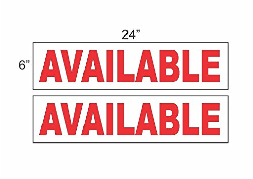 Available Sign (2 - 6x24 AVAILABLE Real Estate Rider Sign RED)