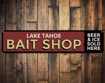 Lago Bait Shop Sign, Cerveza Personalizada y el Hielo se ...