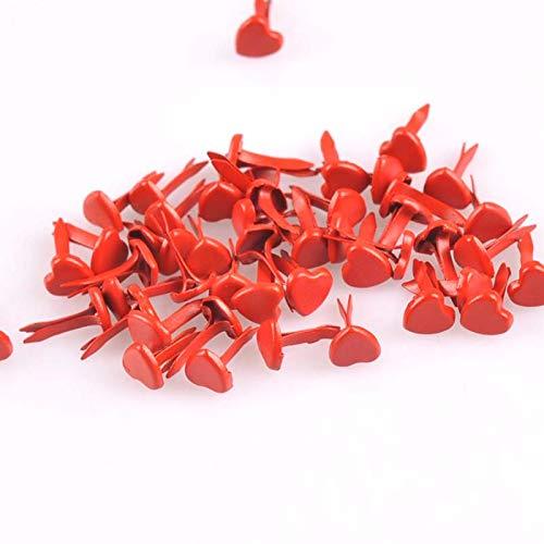 Garment Rivet - 200PCs Red Heart Brads Scrapbooking Embellishment Fastener Brads Metal Crafts for Shoes Decoration CP1921