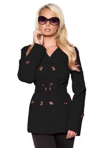 Elegante Mujer trenchcoat abrigo–Precioso Chaqueta en negro talla S–XXL (13425)