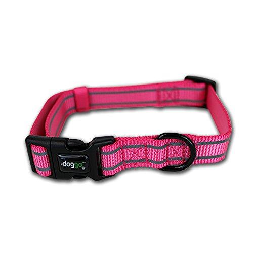 Doggo Everyday Nylon Collar with Reflective Accents, Medium, Pink ()
