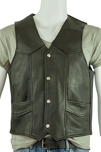Osx Men Black Classic Sleeveless Biker Leather Waistcoat Jacket at Amazon Mens Clothing store: