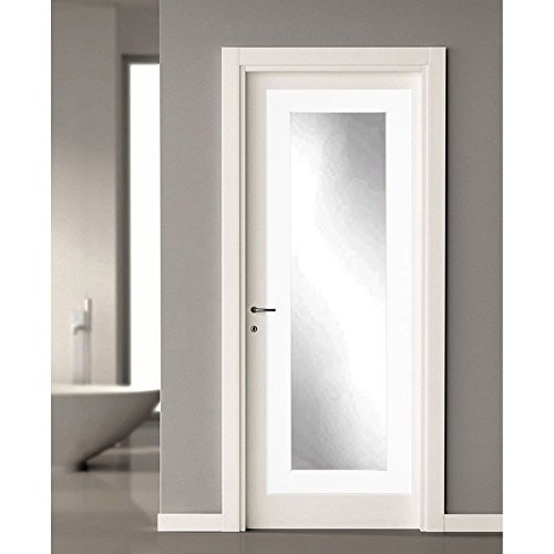 BrandtWorks BM3THINH Modern Over The Door Full Length Dressing Mirror, Matte White, Matte White