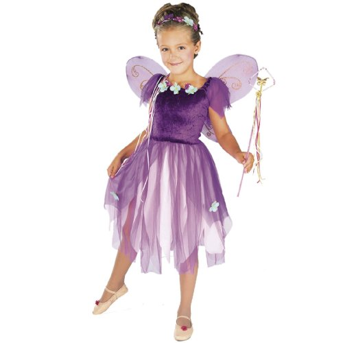 Children's Purple Magical Woodland Fairy Pixie Costume - Size Medium (8-10) (Make Believe Fancy Dress)