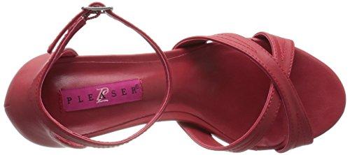 Pleaser DIVINE-435 Damen Sandalette Red Faux Leather