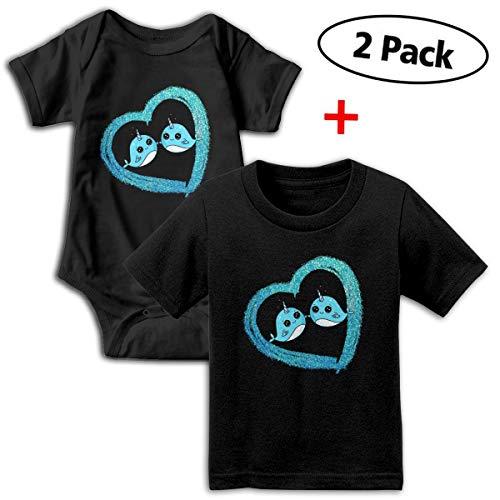 Narwhals are Friends Unisex Toddler Baby 2-Piece Short-Sleeve Bodysuit Baby T-Shirt Set Black
