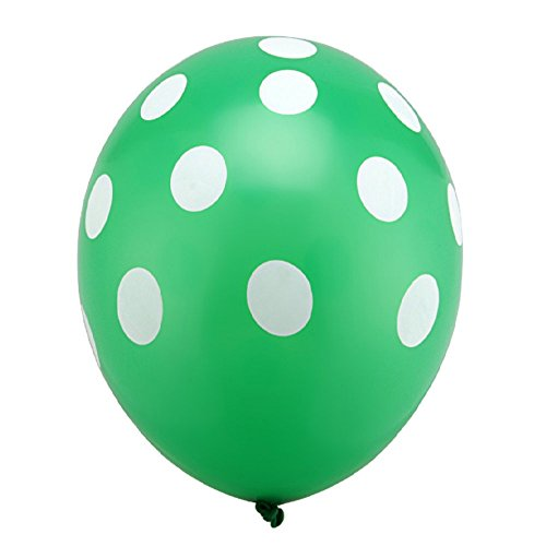 Aekiou 12 Inch Polka Dot Round Latex balloons for for Weddings, Birthdays, Party Decorations 100 Pack Colour- (Green) (Green Polka Dot Balloons)