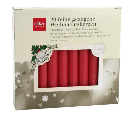 Eika 10243505 Baumkerzen durchgefärbt rot, 20er Pack 10,5cm x 1,25 cm