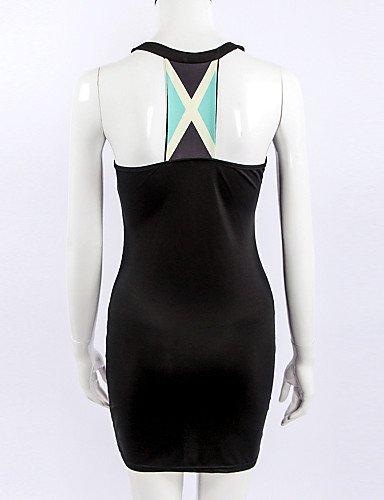 PU&PU Robe Aux femmes Gaine Sexy,Couleur Pleine Col Arrondi Au dessus du genou Coton , black-xl , black-xl