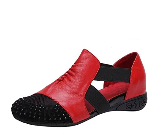 Fansela(TM) Womens Rhinestone Colorant PU Leather Breathable Mesh Flats Shoes Red FvZNdp4