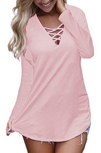 Sipaya Womens Tops Long Sleeve V Neck T Shirts Casual Blouses Tops Autumn Pink L (Top V-neck Long Sleeve Tank)