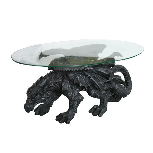 33 Inch Medieval Dragon with Clear Oval Top Table Statue Figurine