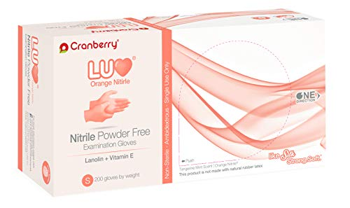Cranberry USA CR3336 LUV Nitrile Powder Free Exam Gloves, Small, Orange (Pack of 200)