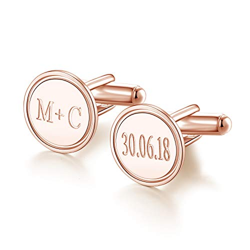 Sterling Silver Personalized Wedding Cufflinks for Men Rose Gold Plating Custom Made with Initial Names Dates Letter Free Engraved (Rose Gold)