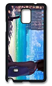 MOKSHOP Adorable Girl Sitting Beach Hard Case Protective Shell Cell Phone Cover For Samsung Galaxy Note 4 - PCB