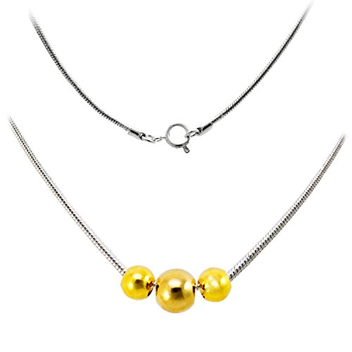 3 Ball Necklace Pendant Snake Chain 18 Inch TwoTone by Cape Cod Jewelry-CCJ made in Massachusetts
