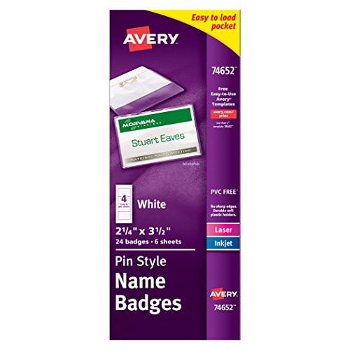 "Avery Top-Loading Pin Style Name Badges, 2-1/4"" x 3-1/2"", Pack of 24 (74652)"