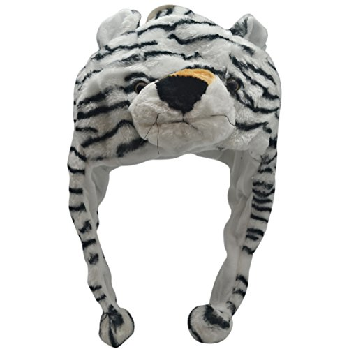 Plush Animal Hats for Kids - 'Assorted Hat-imals' Animal Hats - Critter Cap Cold Weather Winter Hat (White Tiger)