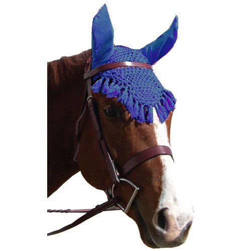 Fly Veil - Intrepid International Fancy Crochet Fly Veil, Blue