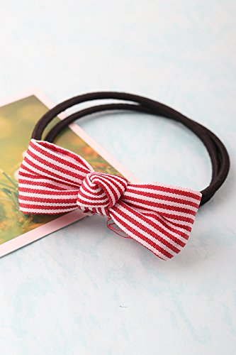 (Striped Bow Hair Ring Elastic Rope Ponytail Holder Korean Exquisite Small Rubber Band Ring Where Rope Hoop (f334 Bifilar Dark White Streaks Bow Hair Ring)