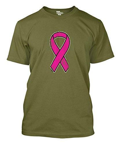 Pink Ribbon Green T-shirt (Distressed Pink Ribbon - Breast Cancer Awareness Men's T-Shirt (XL, Olive Green))